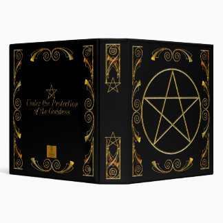 Pentacle,Under the Protection of the Goddess Black 3 Ring Binder