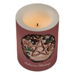 Pentacle Witch Wiccan Pagan Choose Bkgd Color Flameless Candle