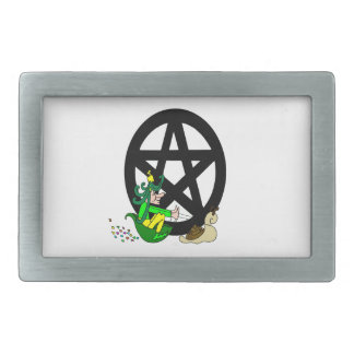 Pentacle With Faerie And Racing Snail Belt Buckle