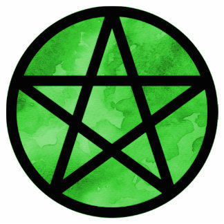 Pentacle with Green watercolor background Statuette