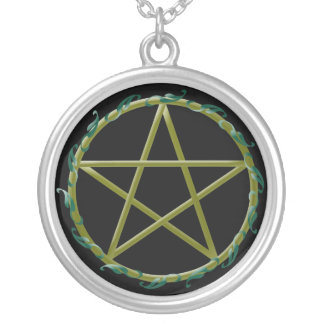 Pentacle with Leaves Round Pendant Necklace