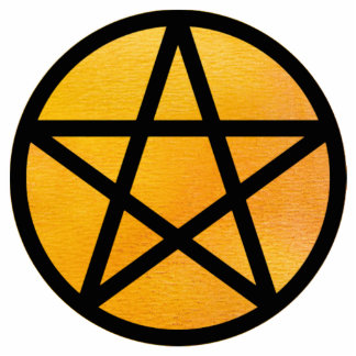 Pentacle with orange watercolor background cutout