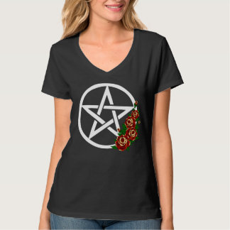 Pentacle with Roses Witch, Pagan, Wicca T-Shirt
