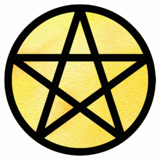 Pentacle with Yellow watercolor background Cutout