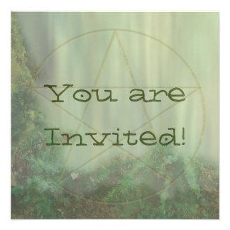 Pentacle Woodtone Personalized Invitation