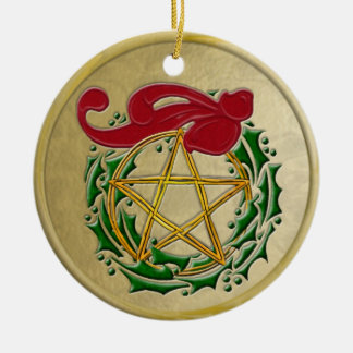 Pentacle, Wreath & Red Bow with Frame Ceramic Ornament