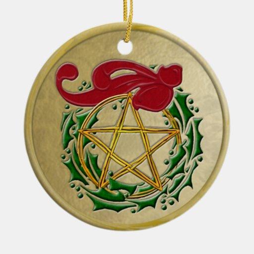 Pentacle, Wreath & Red Bow with Frame Double-Sided Ceramic Round Christmas Ornament