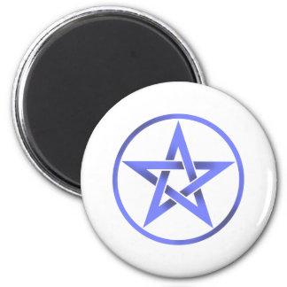 Pentáculo azul del Pentagram Imán Redondo 5 Cm