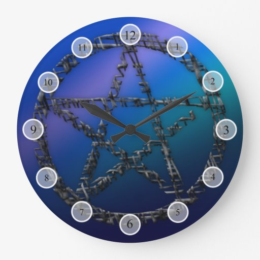 Pentáculo azul reloj redondo grande