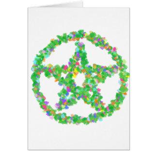 Pentáculo de la flor y de las hojas tarjeta de felicitación