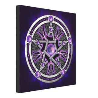Pentáculo de la luna púrpura impresión de lienzo