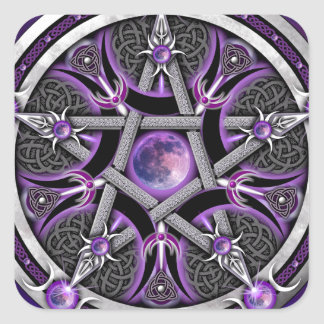 Pentáculo de la luna púrpura pegatina cuadrada