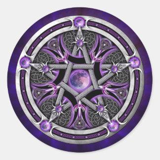 Pentáculo de la luna púrpura pegatina redonda