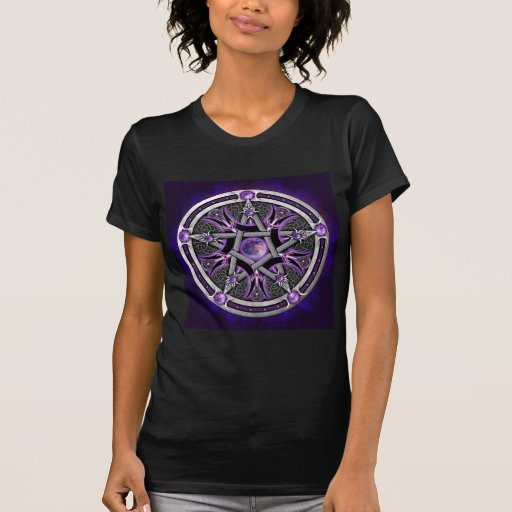 Pentáculo de la luna púrpura camisetas