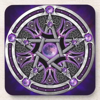 Pentáculo de la luna púrpura posavasos de bebidas