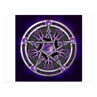 Pentáculo de la luna púrpura postal