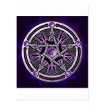 Pentáculo de la luna púrpura tarjeta postal