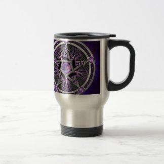 Pentáculo de la luna púrpura taza de viaje