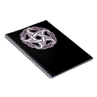 Pentáculo de lujo púrpura y blanco libro de apuntes con espiral