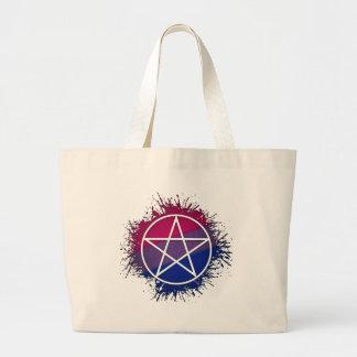 Pentáculo de Wicca - Bisexual Bolsas De Mano