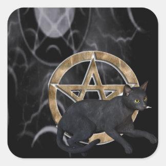 Pentáculo de Wiccan con el gato negro Pegatina Cuadrada
