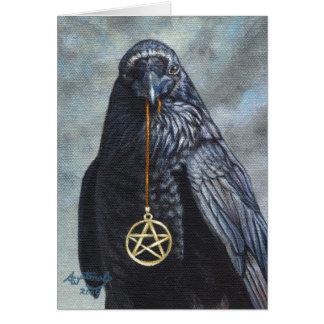 Pentáculo del cuervo tarjeta de felicitación