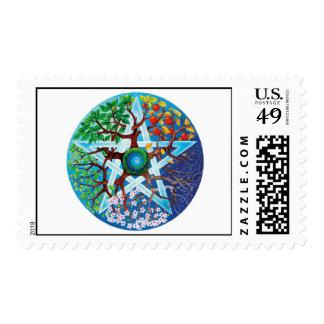 pentáculo-estaciones timbres postales