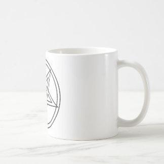 Pentáculo invertido negro taza básica blanca