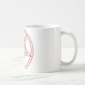Pentáculo invertido rojo taza básica blanca