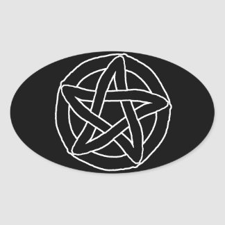 Pentáculo negro de la diversión pegatina ovalada