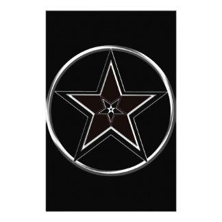 Pentáculo negro y de plata con Pentagram invertido Papelería De Diseño