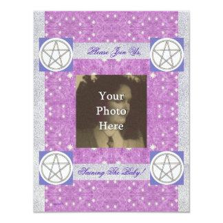 Pentáculo pagano celestial remilgado invitación 10,8 x 13,9 cm