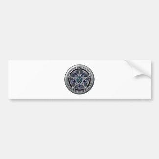 Pentáculo pagano de plata femenino etiqueta de parachoque