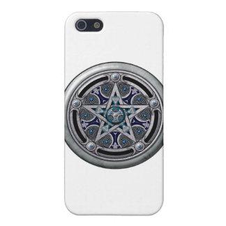 Pentáculo pagano de plata femenino iPhone 5 cárcasa