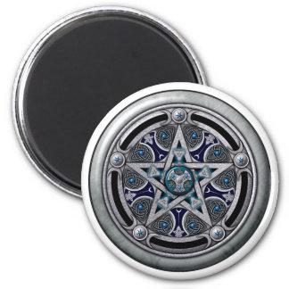 Pentáculo pagano de plata femenino imán para frigorífico
