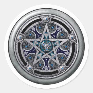 Pentáculo pagano de plata femenino pegatina redonda