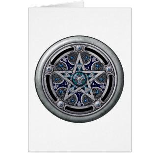 Pentáculo pagano de plata femenino tarjeta de felicitación