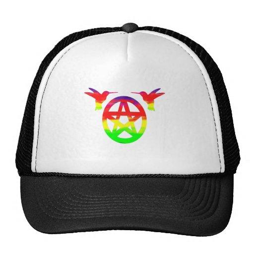 Pentáculo pagano psicodélico del colibrí del hippy gorras