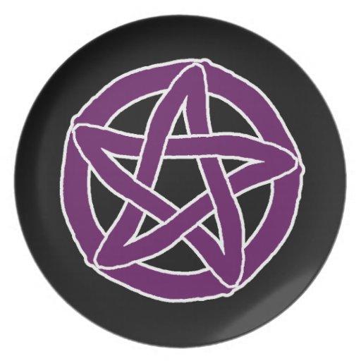 Pentáculo púrpura de la diversión platos de comidas