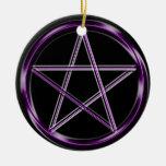 Pentáculo púrpura ornamento para arbol de navidad