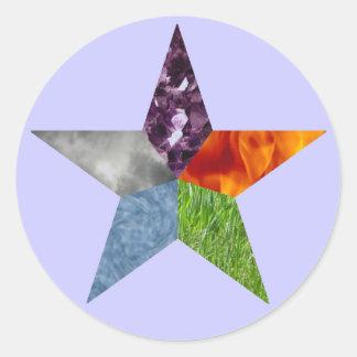 Pentáculo - púrpura pegatina redonda