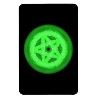 Pentáculo que brilla intensamente verde imanes