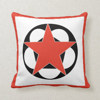 Pentáculo rojo de la estrella cojín