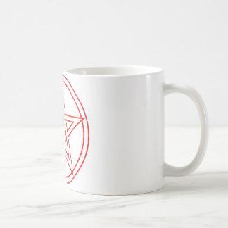 Pentáculo rojo taza básica blanca