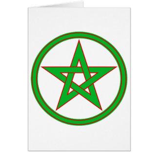 Pentáculo rojo verde tarjeta de felicitación