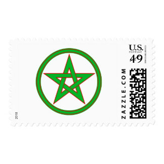 pentáculo rojo verde timbre postal