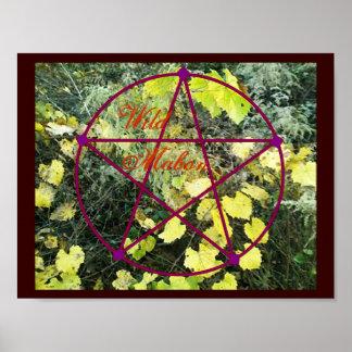 Pentáculo salvaje del equinoccio del otoño de Mabo Posters