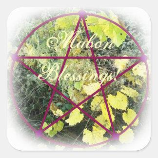 Pentáculo salvaje del equinoccio del otoño de pegatina cuadrada