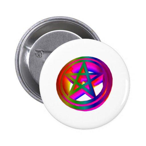 pentáculo tridimensional #2 del arco iris pins