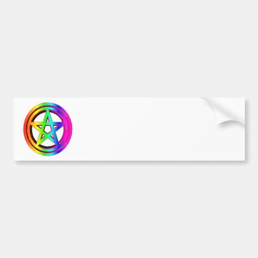 pentáculo tridimensional #5 del arco iris pegatina de parachoque